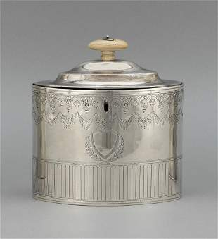 GEORGE III STERLING SILVER TEA CADDY London, 1794
