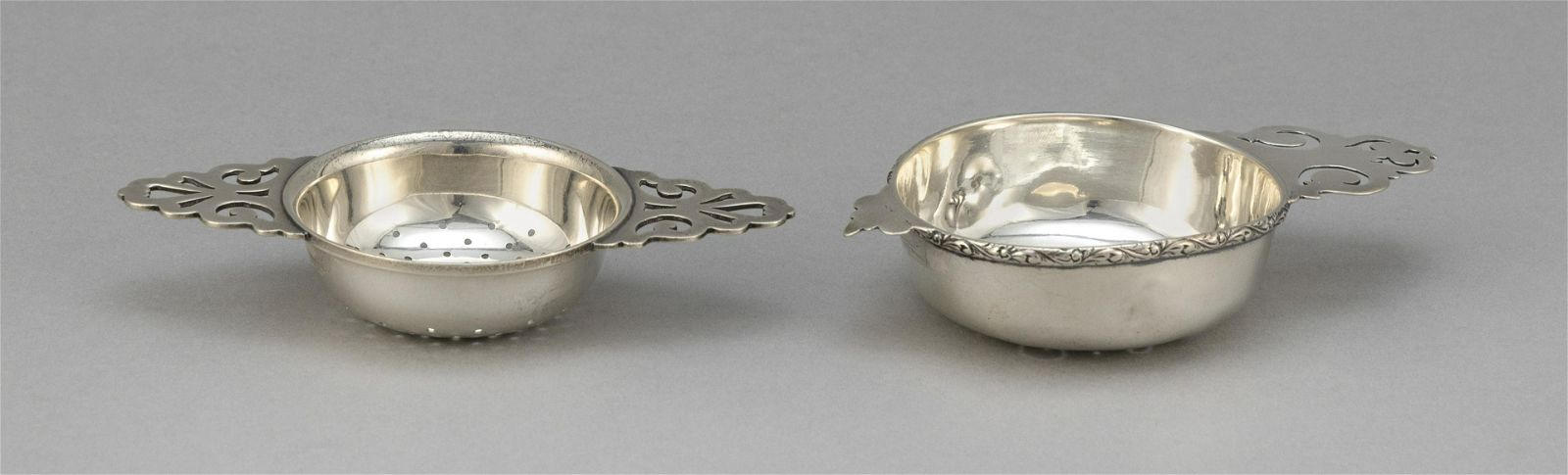 TWO AMERICAN STERLING SILVER TEA STRAINERS Approx. 3.4
