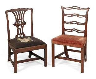 """TWO ANTIQUE SIDE CHAIRS Back heights 36.25"""" and 28""""."""