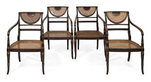 SET OF FOUR ENGLISH REGENCY ARMCHAIRS First Half of the