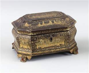 """CHINESE LACQUER AND GILT BOX 19th Century Height 5""""."""