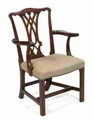 CHIPPENDALE ARMCHAIR Late 18th Century Back height