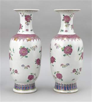 PAIR OF CHINESE FAMILLE ROSE PORCELAIN VASES 19th