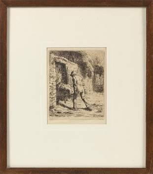 """JEAN FRANCOIS MILLET (France, 1814-1875), """"Man with"""