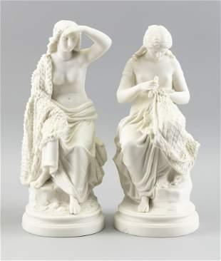 PAIR OF PARIAN BISQUE FIGURES OF WOMEN MENDING NETS