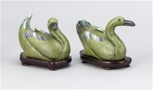 PAIR OF CHINESE FAMILLE VERTE PORCELAIN GEESE Late 19th