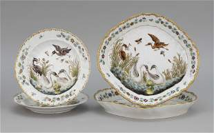FOUR PIECES OF CAPODIMONTE PORCELAIN First Half of the