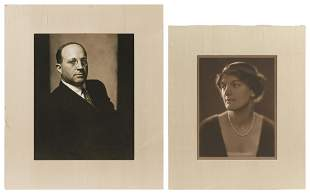 PAIR OF FORMAL PORTRAITS OF EUGENE I. MEYER AND HIS