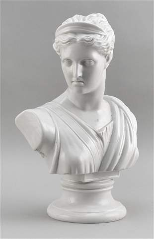 AUSTRIAN PORCELAIN BUST OF DIANA 19th Century Height