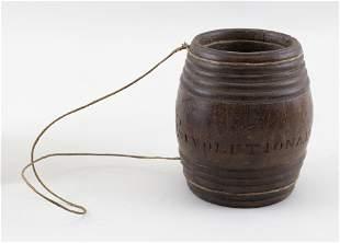 BARREL-FORM WOODEN POWDER CASK 18th Century Height