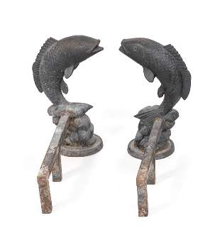 PAIR OF CAST IRON LEAPING TROUT ANDIRONS 20th Century
