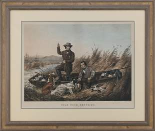 CURRIER & IVES LARGE FOLIO HAND-COLORED LITHOGRAPH