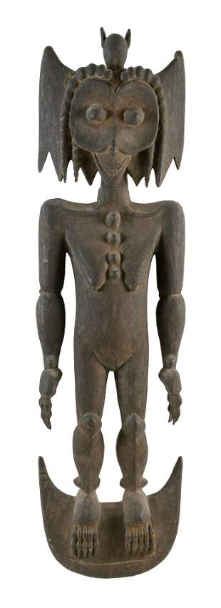 PAPUA NEW GUINEA CARVED WOODEN FIGURE OF A BAT WOMAN
