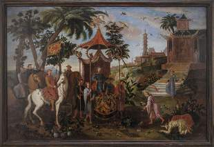 CHINOISERIE PAINTING Late 18th/Early 19th Century Oil