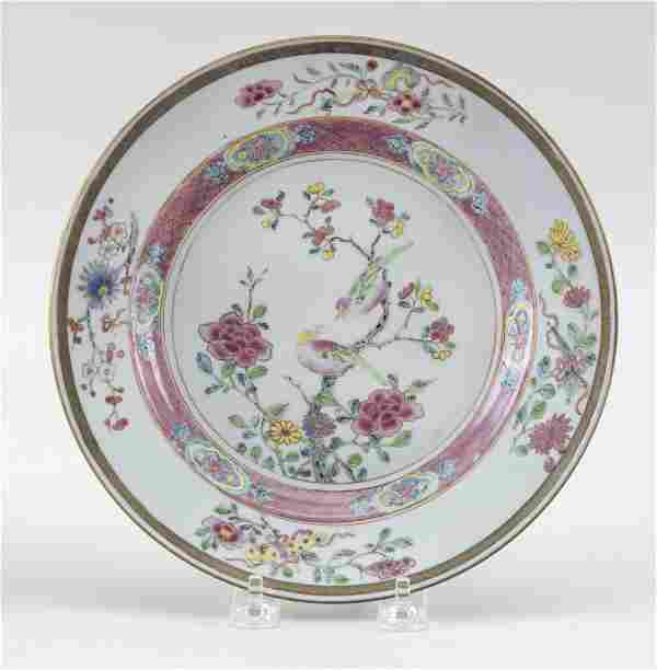 CHINESE EXPORT FAMILLE ROSE PORCELAIN PLATE Late