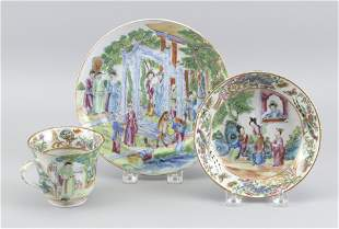 CHINESE EXPORT ROSE MANDARIN PORCELAIN CUP, SAUCER AND