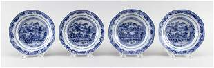 SET OF FOUR CHINESE EXPORT BLUE AND WHITE PORCELAIN