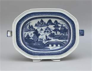 CHINESE EXPORT BLUE AND WHITE CANTON PORCELAIN HOT