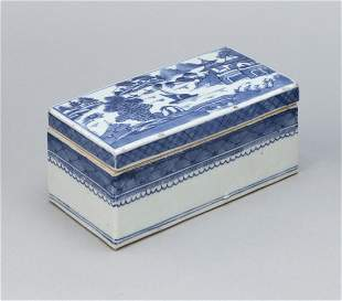 CHINESE EXPORT BLUE AND WHITE CANTON PORCELAIN BRUSH