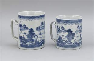 TWO LARGE CHINESE EXPORT BLUE AND WHITE CANTON