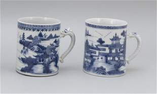 TWO SIMILAR CHINESE EXPORT BLUE AND WHITE NANKING