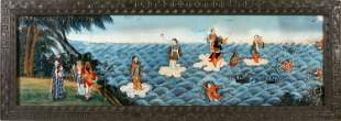 CHINESE EXPORT REVERSE PAINTING ON GLASS OF IMMORTALS