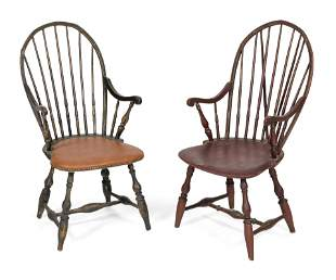 TWO WINDSOR ARMCHAIRS Probably Rhode Island, 18th