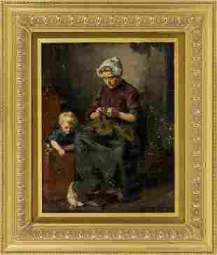 OSCAR MILLER (Rhode Island, 1867-1921), Interior scene