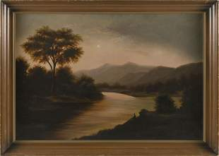 AMERICAN SCHOOL (19th Century,), Sunset over a mountain