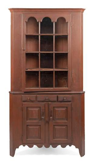 TWO-PART CORNER CUPBOARD New England, First Half of the