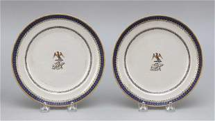 PAIR OF CHINESE EXPORT BLUE AND WHITE ARMORIAL