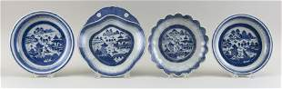FOUR CHINESE EXPORT BLUE AND WHITE CANTON PORCELAIN