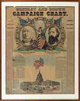 """""""GREELEY AND BROWN CAMPAIGN CHART"""" POSTER Circa 1872"""