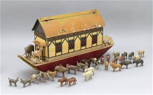 GERMAN CARVED AND PAINTED WOODEN NOAH'S ARK 19th
