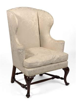 BOSTON QUEEN ANNE-STYLE WING CHAIR Circa 1900 Back