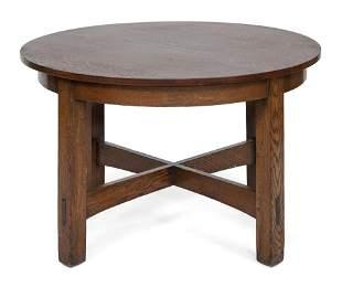 """L. & J.G. STICKLEY OAK BREAKFAST TABLE Height 29.5""""."""