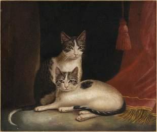AMERICAN SCHOOL (19th Century,), Two kittens., Oil on