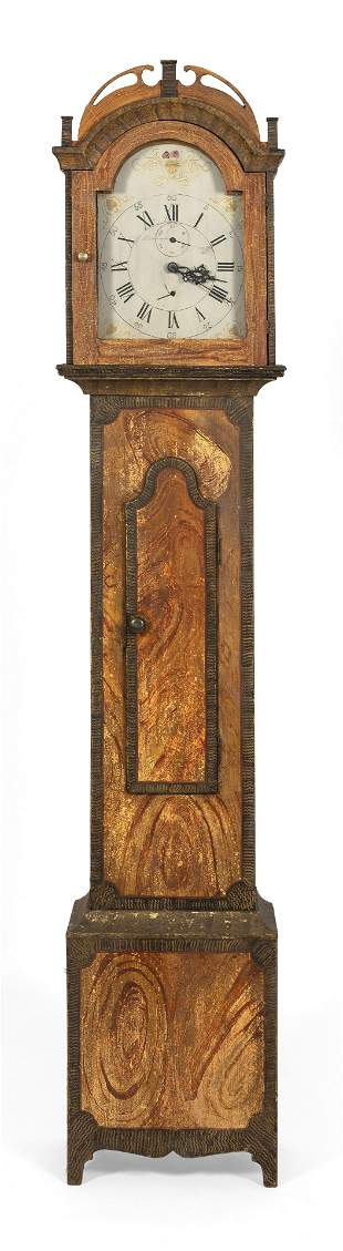 GRAIN-PAINTED TALL-CASE CLOCK New England, First Half