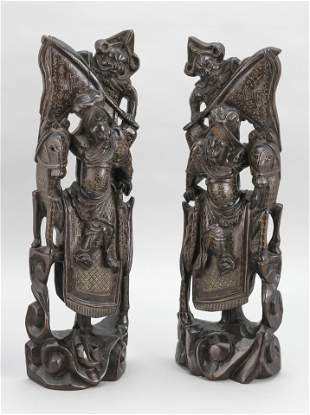 PAIR OF CHINESE CARVED WOODEN FIGURE GROUPS Early 20th