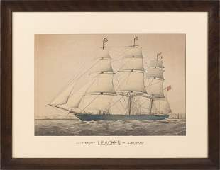 """HAND-COLORED LITHOGRAPH """"CLIPPERSHIP LEACHEN OF"""