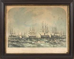 """HAND-COLORED LITHOGRAPH """"BOMBARDMENT OF FORTS HATTERAS"""
