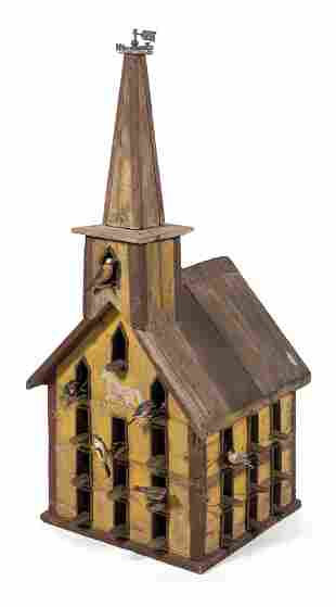PAINTED PINE BIRDHOUSE IN THE FORM OF A COUNTRY CHURCH