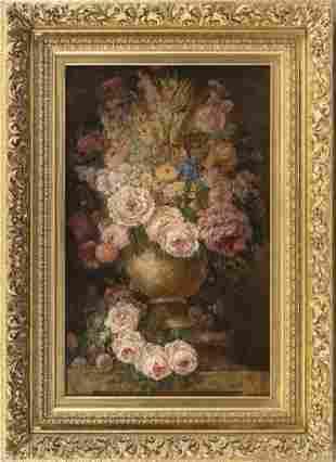 AMERICAN SCHOOL (19th Century,), Still life of flowers