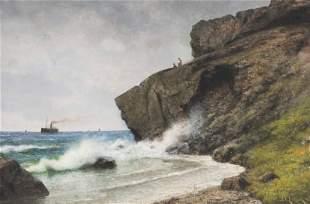GEORG EMIL LIBERT (Denmark, 1820-1908), Waves crashing