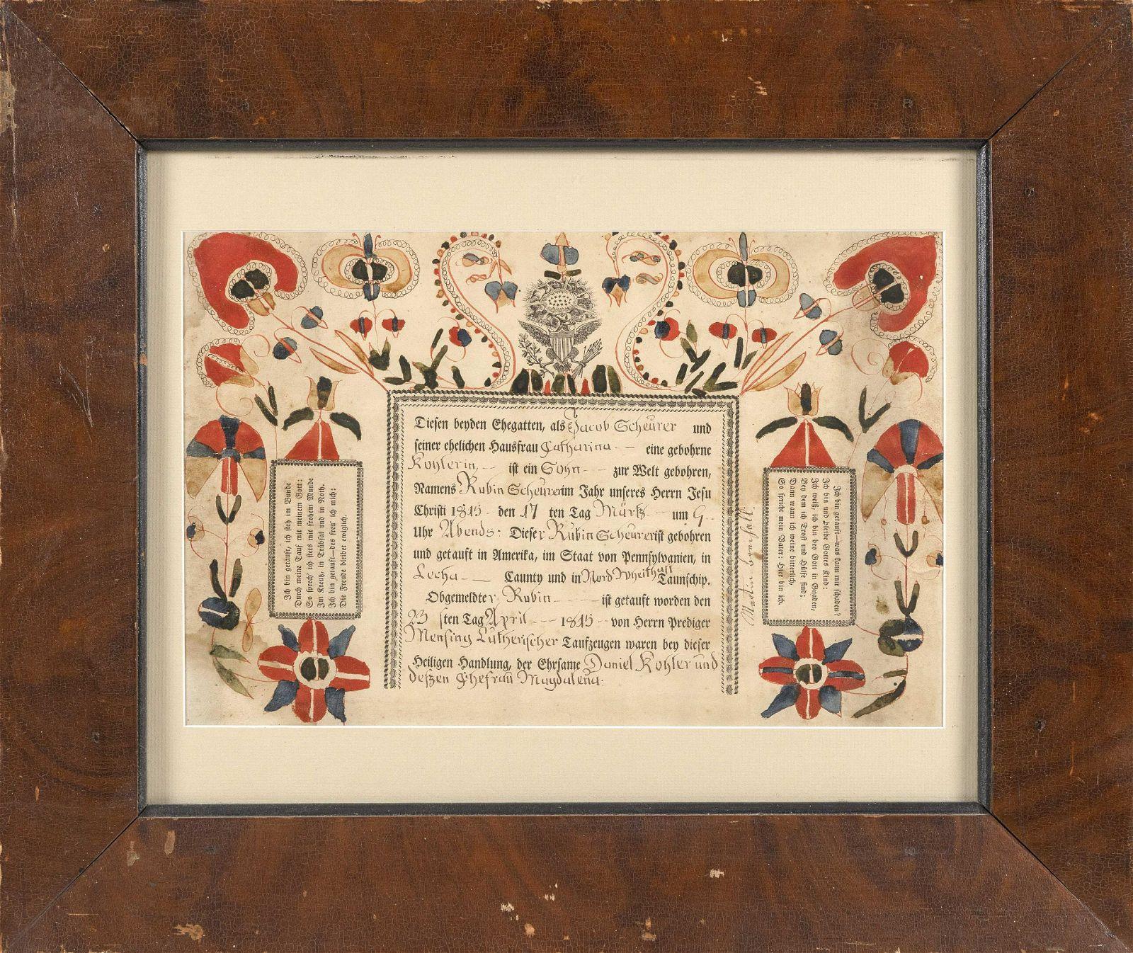 "PENNSYLVANIA DUTCH FRAKTUR Mid-19th Century 10.5"" x"