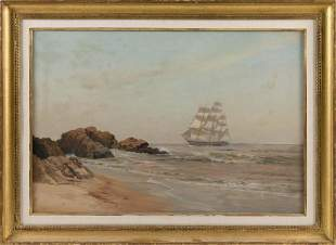 WARREN W. SHEPPARD (New Jersey, 1858-1937), Ship off a