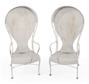 PAIR OF VINTAGE PORTER-STYLE WROUGHT IRON GARDEN CHAIRS