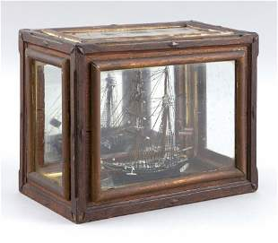 "CASED MODEL OF THE BRIGANTINE ""BERTHA"" 19th Century"