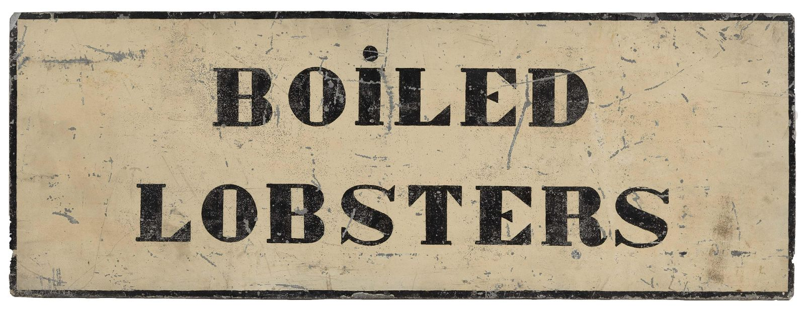 """DOUBLE-SIDED TIN SIGN """"BOILED LOBSTERS"""" Early 20th"""