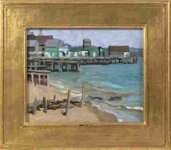 """DIANE SCOTT (Maine, b. 1950), """"West End Dock"""" (Captain"""